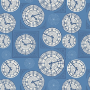 Lewis & Irene - Britannia - 6441 - Big Ben Collage, Blue & White  - A348.2 - Cotton Fabric